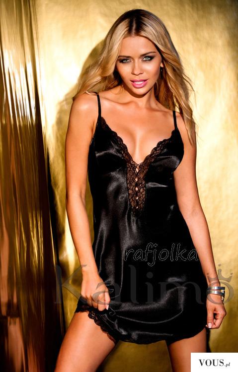 Czarna satynowa koszulka kobieca