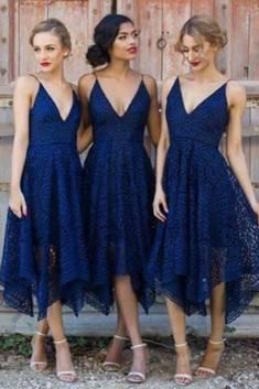 A Line Tea Length Deep V Neck Spaghetti Sleeveless Cheap Bridesmaid Dresses – Ombreprom