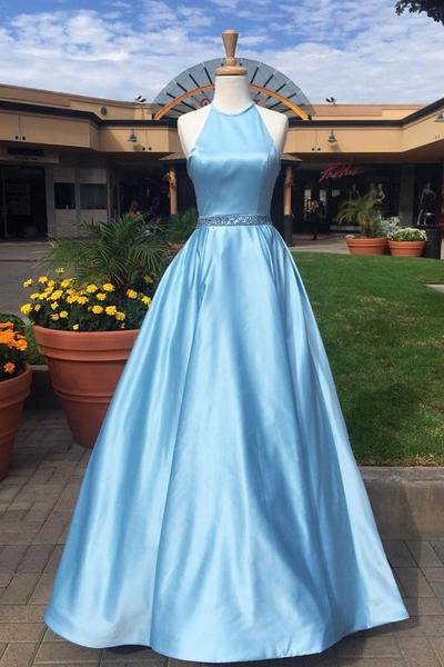 Blue A Line Floor Length Halter Sleeveless Beading Belt Prom Dress – Ombreprom