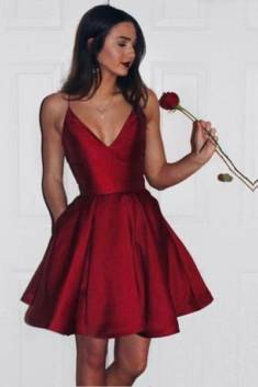 Burgundy Sweetheart Spaghetti Sleeveless Homecoming Dress – Ombreprom