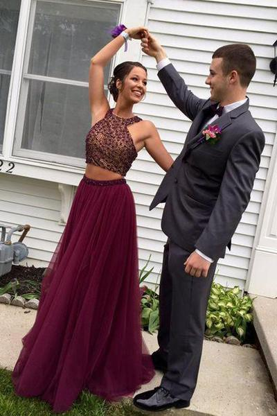 Burgundy Two Piece A Line Sweep Train Halter Sleevless Beading Prom Dress – Ombreprom
