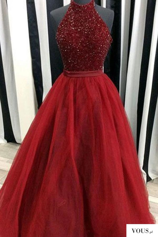 Cheap Red Ball Gown High Neck Sleeveless Floor-Length Beading Long Prom Dresses P564