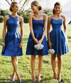 Shop A-Line Sleeveless Satin Knee-Length Bridesmaid Dresses On Sale – Ombreprom
