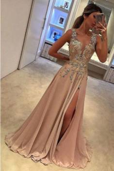A Line Brush Train Deep V Neck Sleeveless Appliques Side Slit Prom Dress – Ombreprom