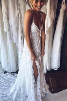 Halter Sleeveless Backless Side Slit Cheap Wedding Gown,Beach Wedding Dress – Ombreprom