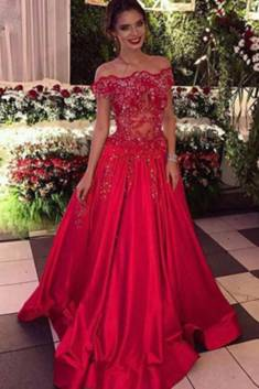 Red Off-the-Shoulder A-line Ball Gown Applique Beaded Satin Prom Dress P569 – #Ombreprom # ...