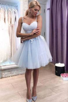 Sweetheart Straps Appliques Tulle Knee Length Homecoming Dress M475 – Ombreprom
