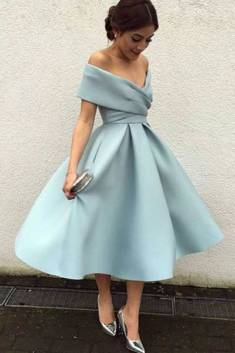 A-Line Blue Homecoming Dress,Sexy Off Shoulder Formal Evening Dress – Ombreprom