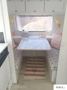 Nowe obicia i poduszki do kampera / inspiracja zdjęcia / marmurowy stół
