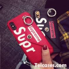 シュプリーム iphoneX/XSplusケース カード収納 iphone8/9ケース SUPREME 黒 赤 新品発売