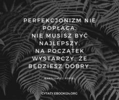 ✩ Bartłomiej Popiel cytat o perfekcjonizmie ✩ | Cytaty motywacyjne