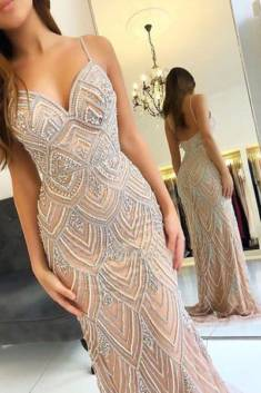 Charming V Neck Spaghetti Straps With Beaded Floor Length Prom Dress P651 – Ombreprom