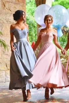 Chic Sweetheart Ankle Length Off-the-shoulder Bridesmaid Dress B373 – Ombreprom
