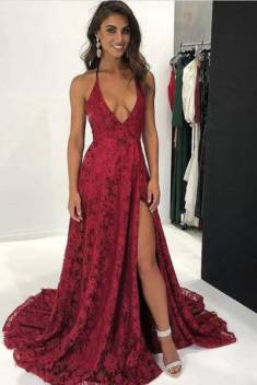 Gorgeous Lace Appliques Spaghetti Straps V Neck With Split Prom Dress P656 – Ombreprom