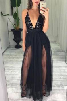 Sexy Black Spaghetti Straps Deep V Neck With Beading Prom Dress P652 – Ombreprom