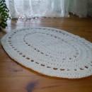 dywan dziergany,kolor biały,sznur bawełniany,Rękodzieło u Edyty Coś więcej niż hobby