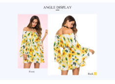 Dropshipping for Off The Shoulder Long Bell Sleeve Floral Print Tied Women Mini Dress to sell on ...