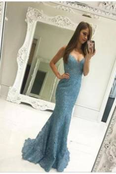Gorgeous Trumpet V Neck Sleeveless Lace Appliques Prom Dress P689 – Ombreprom