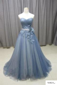 Chic Sweetheart A Line Open Back SweepTrain With Appliques Prom Dress P805