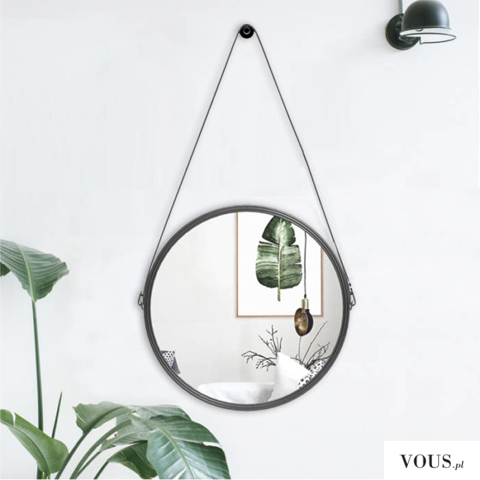wiszące okrągłe lustro na sznurku