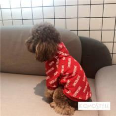 シュプリーム ペット洋服 supreme パーカー オシャレ 韓国風 レッド/ブラック