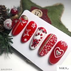 paznokcie świąteczne wzory,