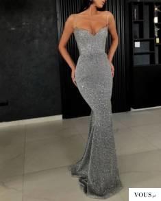 srebrna długa sukienka