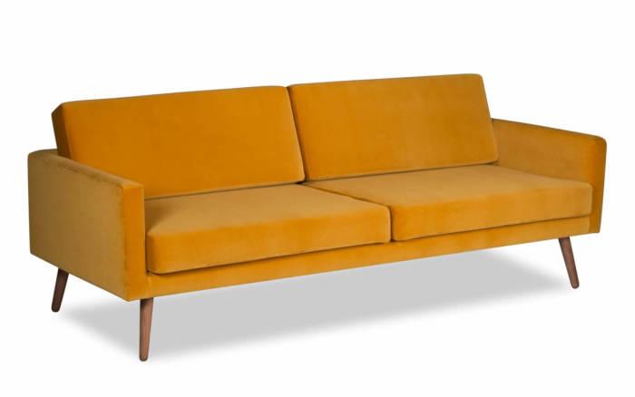 Musztardowa sofa – welurowa – Sklep SCANDICSOFA.PL