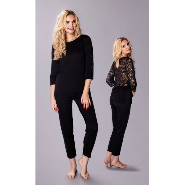 Elegancka piżama damska jedwab wiskozowy Marietta czarna – Pradlo