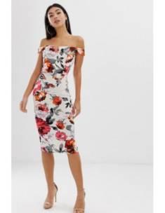 Dopasowana sukienka w kwiaty – rozmiar S| wypożycz sukienkę w 4myself.pl