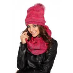 Zestaw damski czapka z futerkowym pomponem sklep pradlo
