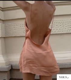 sukienka satynowa morelowa