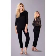 Elegancka piżama damska jedwab wiskozowy Marietta czarna – Pradlo sklep