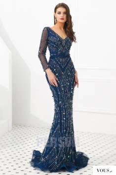 Robe cérémonie sirène 2020 bleu foncé travaillé de bijoux exquis à manche longue