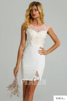 Carla : Robe de mariée courte fourreau encolure illusion ornée de fleurs 3D