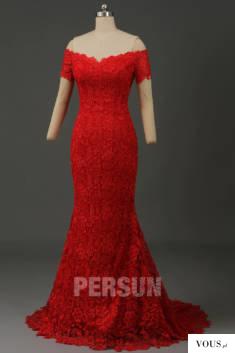 Robe de soirée rouge fourreau épaule dénudée manche courte en dentelle guipure
