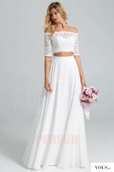Corinne : Robe de mariée à deux pièces haut en dentelle col bardot avec manche courte