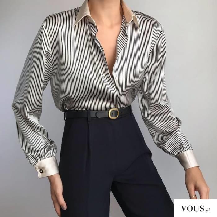 koszula jedwabna w paski