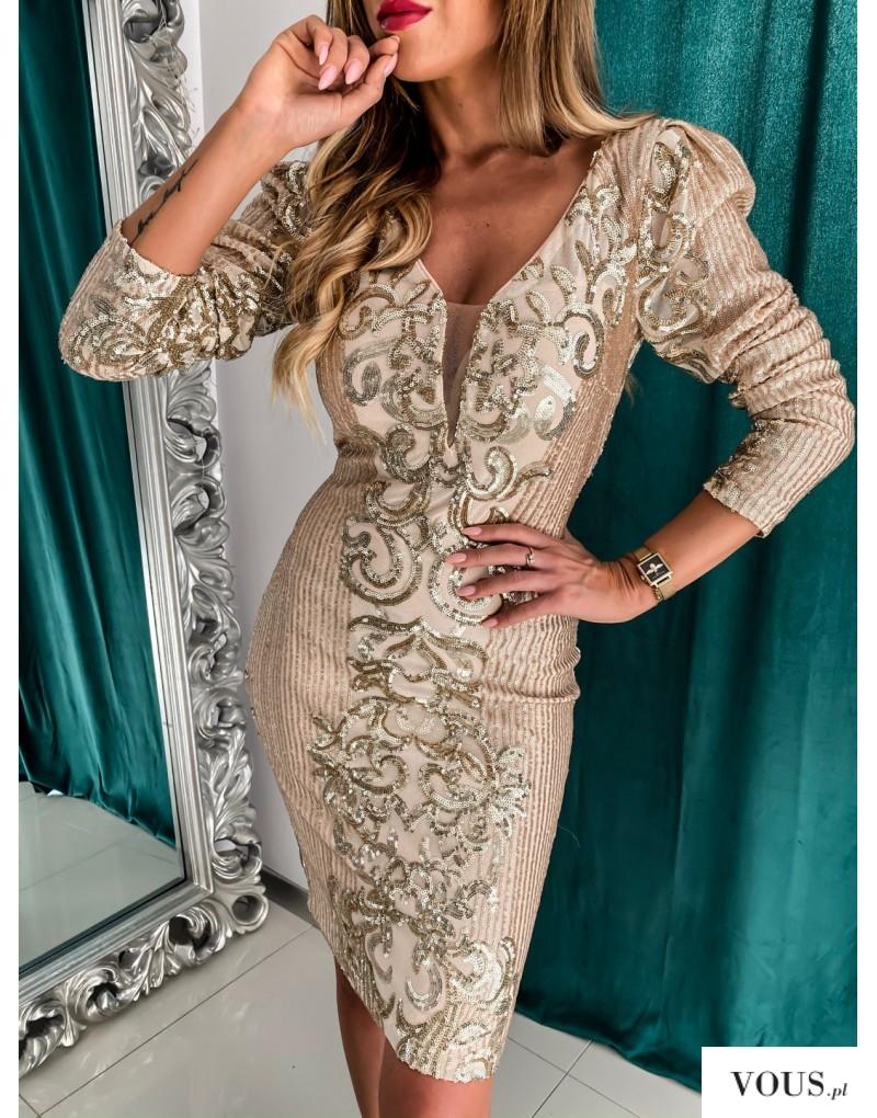 Złota sukienka z dekoltem
