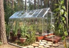 Szklarnia z poliwęglanu w bardzo ciekawym ogrodzie. Szklarnia postawiona została na specjalnie p ...