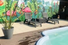Leżaki zostały stworzone z myślą o umieszczeniu ich w pobliżu basenu, gdzie wygodnie można ciesz ...