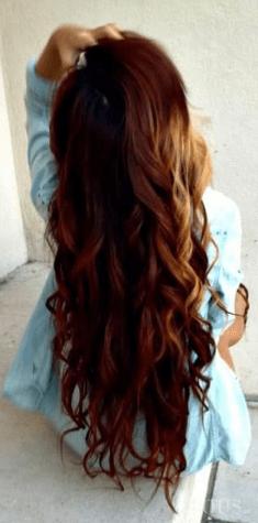 Śliczne ciemno rude / brązowe / kasztanowe długie kręcone włosy