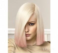 Krótkie wlosy omre blond i róż, różowe ombre