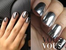 Metaliczne lakiery do paznokci, nowy trend, srebrny lakier z połyskiem