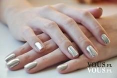 Metaliczny lakier do paznokci, srebrne paznokcie z metalicznym połyskiem