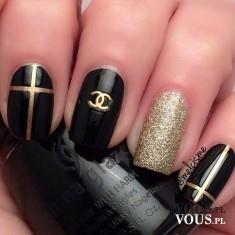 Lakiery do paznokci Chanel, złoto – czarny manicure