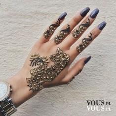 wzory na dłoniach, etno tatuaż, henna