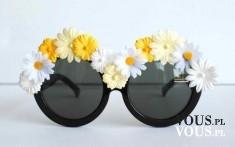 okulary przeciwsłoneczne, modne okulary, okulary w kwiaty