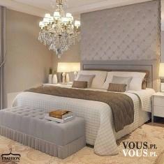 piękna sypialnia, duże małżeńskie łóżko, stylowy wystrój sypialni