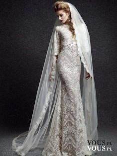suknia ślubna z długim welonem, czy długi welon jest modny